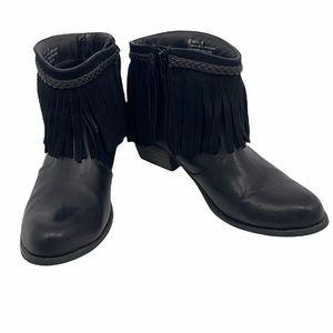 Corkys Black Leather Fringe Ankle Boots size 9